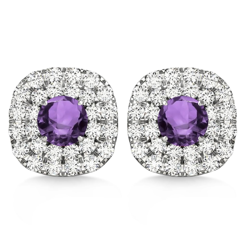 Double Halo Amethyst & Diamond Earrings 14k White Gold (1.36ct)