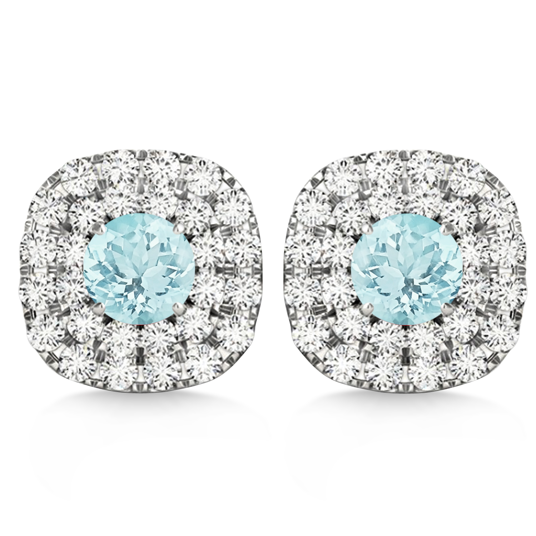 Double Halo Aquamarine & Diamond Earrings 14k White Gold (1.36ct)