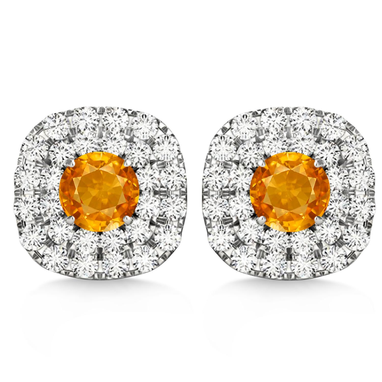 Double Halo Citrine & Diamond Earrings 14k White Gold (1.36ct)