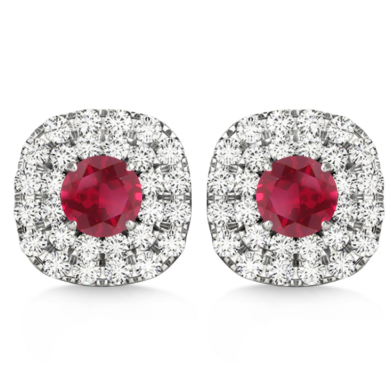 Double Halo Ruby & Diamond Earrings 14k White Gold (1.36ct)