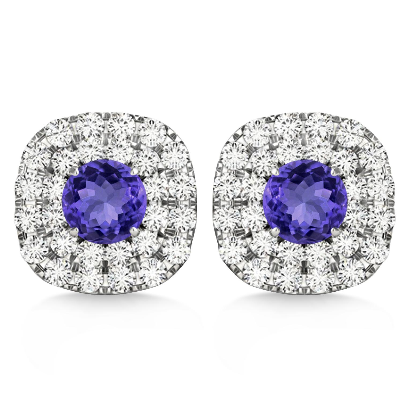 Double Halo Tanzanite & Diamond Earrings 14k White Gold (1.36ct)