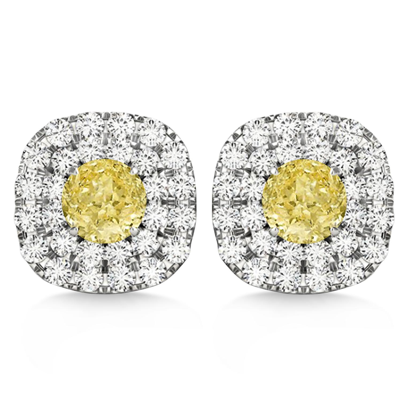 Double Halo Yellow & White Diamond Earrings 14k White Gold (1.36ct)