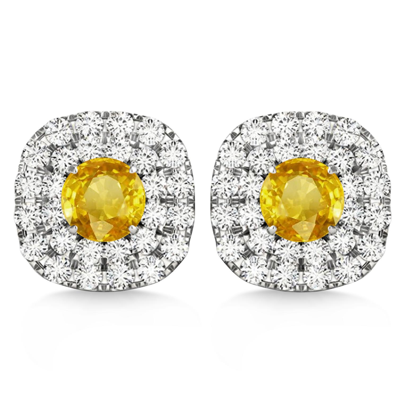 Double Halo Yellow Sapphire & Diamond Earrings 14k White Gold (1.36ct)