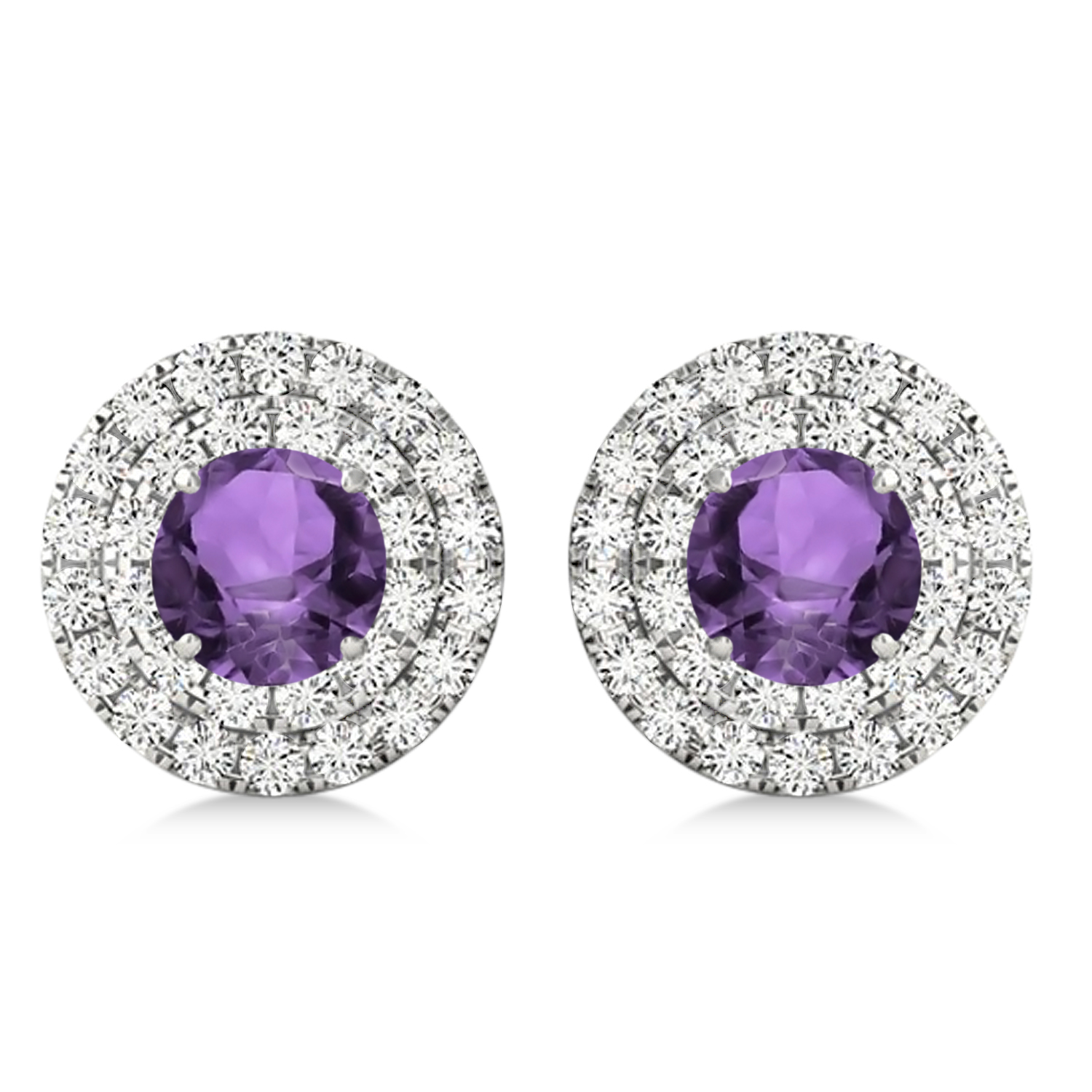 Round Double Halo Diamond & Amethyst Earrings 14k White Gold 1.25ct