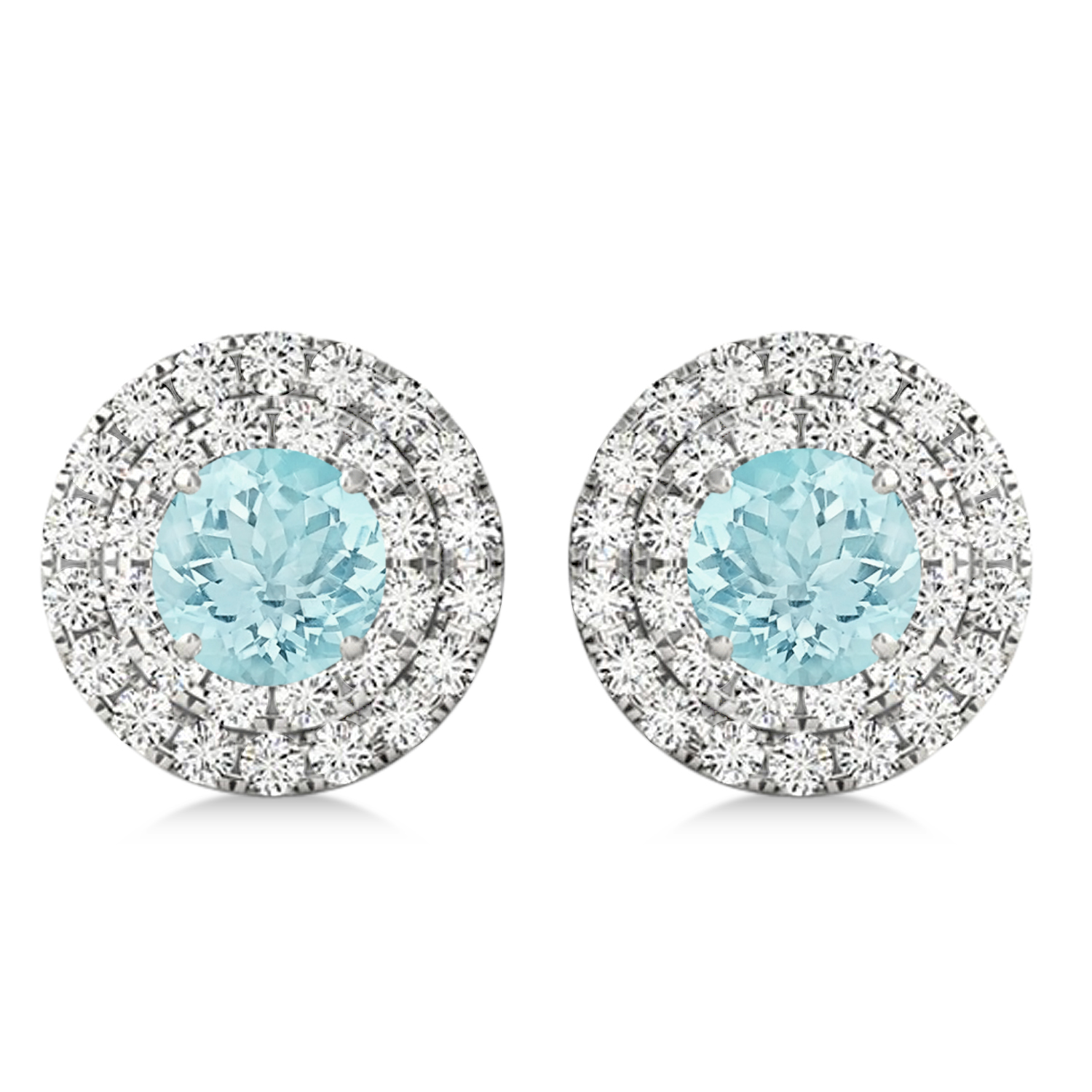 Round Double Halo Diamond & Aquamarine Earrings 14k White Gold 1.35ct