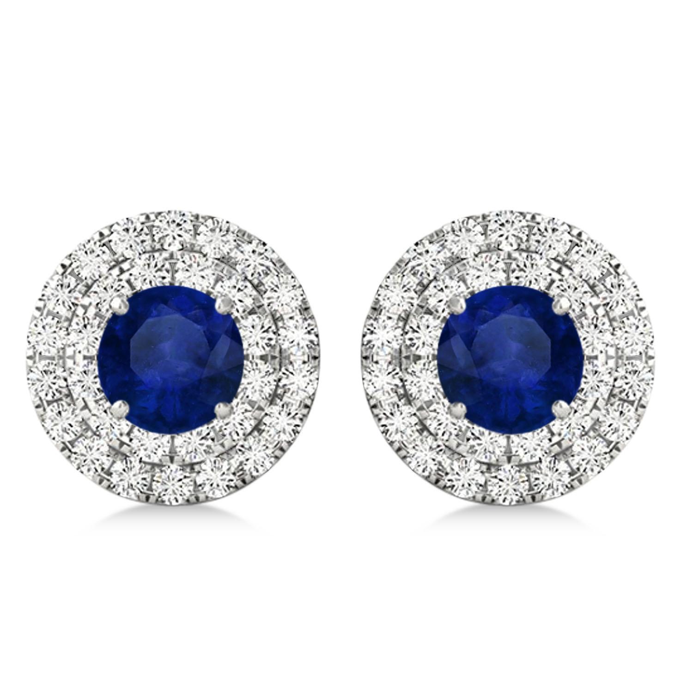 Round Double Halo Diamond & Blue Sapphire Earrings 14k White Gold 1.65ct