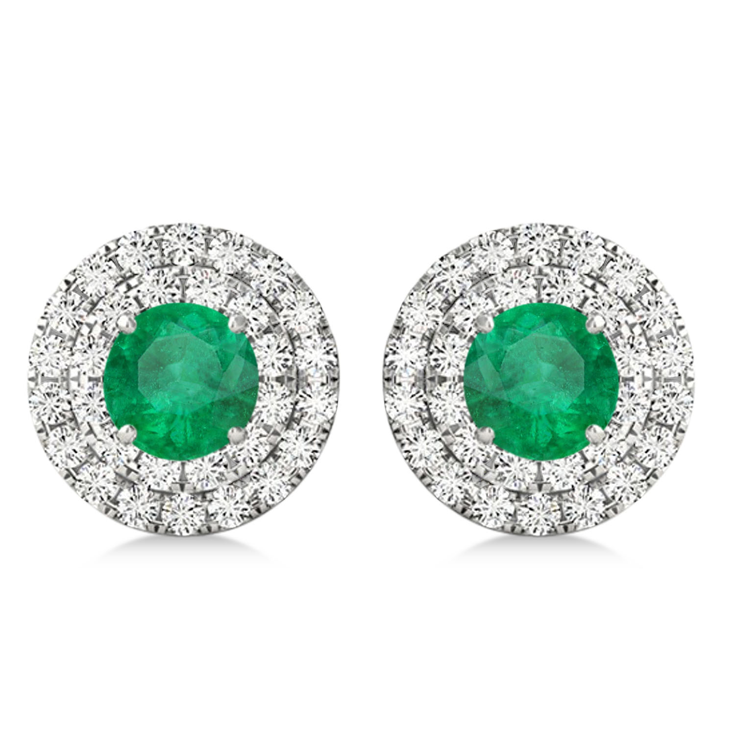 Round Double Halo Diamond & Emerald Earrings 14k White Gold 1.41ct