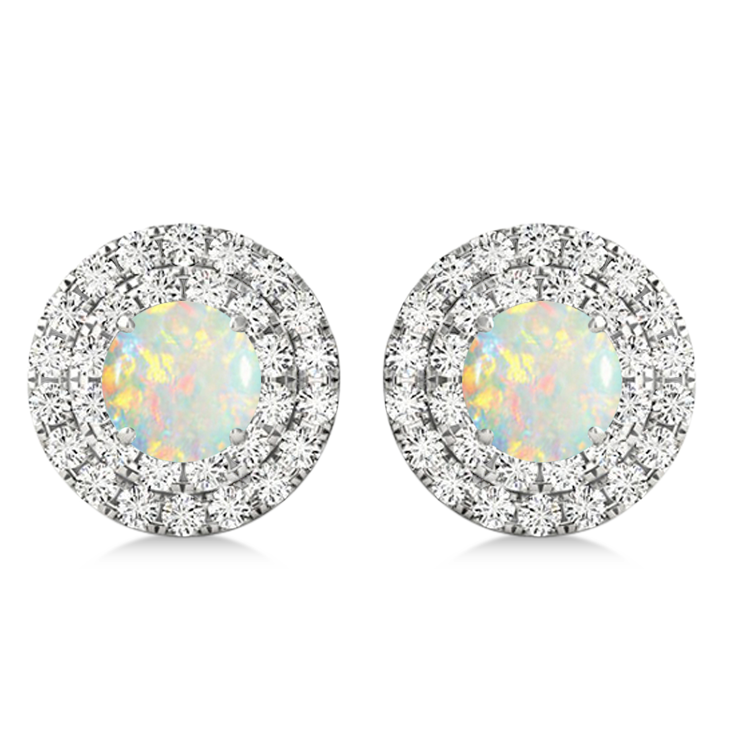 Round Double Halo Diamond & Opal Earrings 14k White Gold 1.13ct