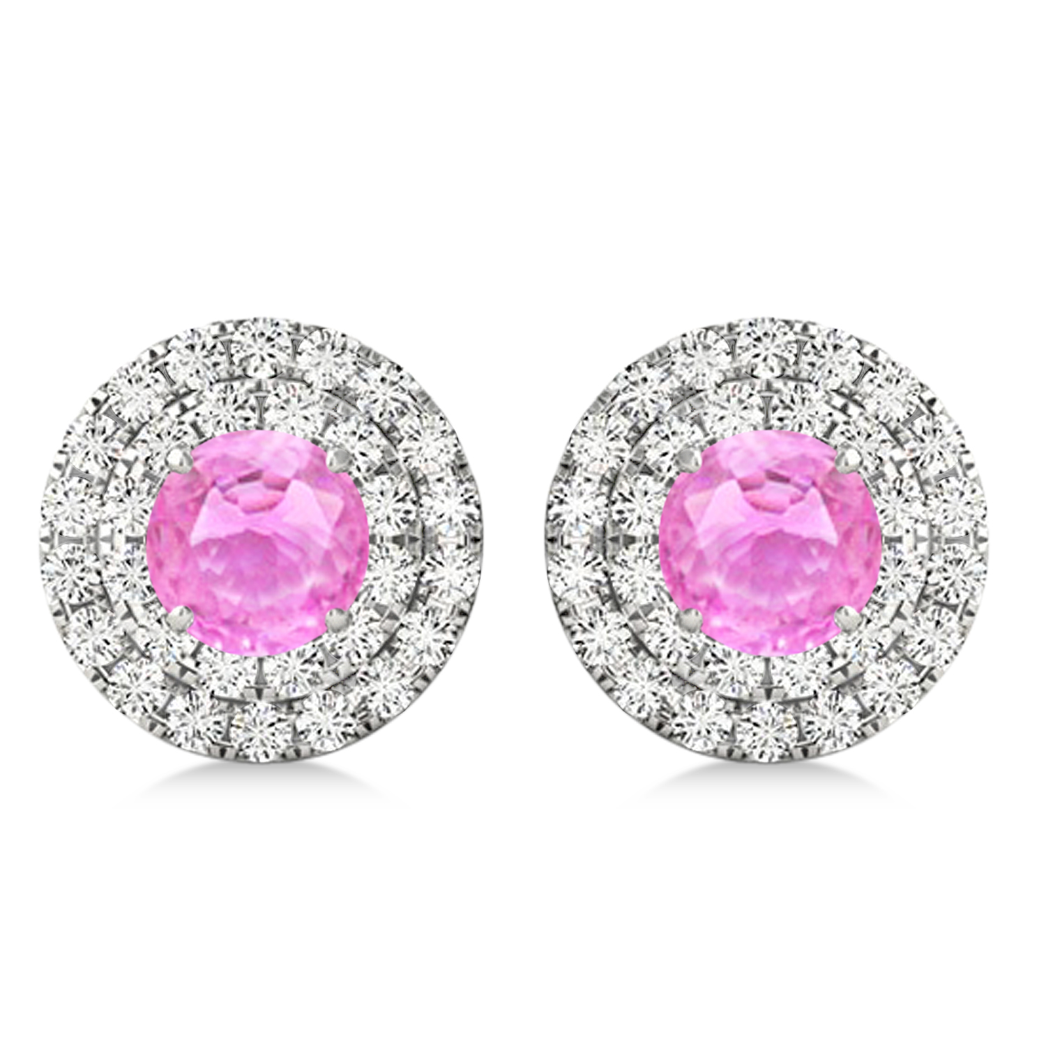 Round Double Halo Diamond & Pink Sapphire Earrings 14k White Gold 1.65ct