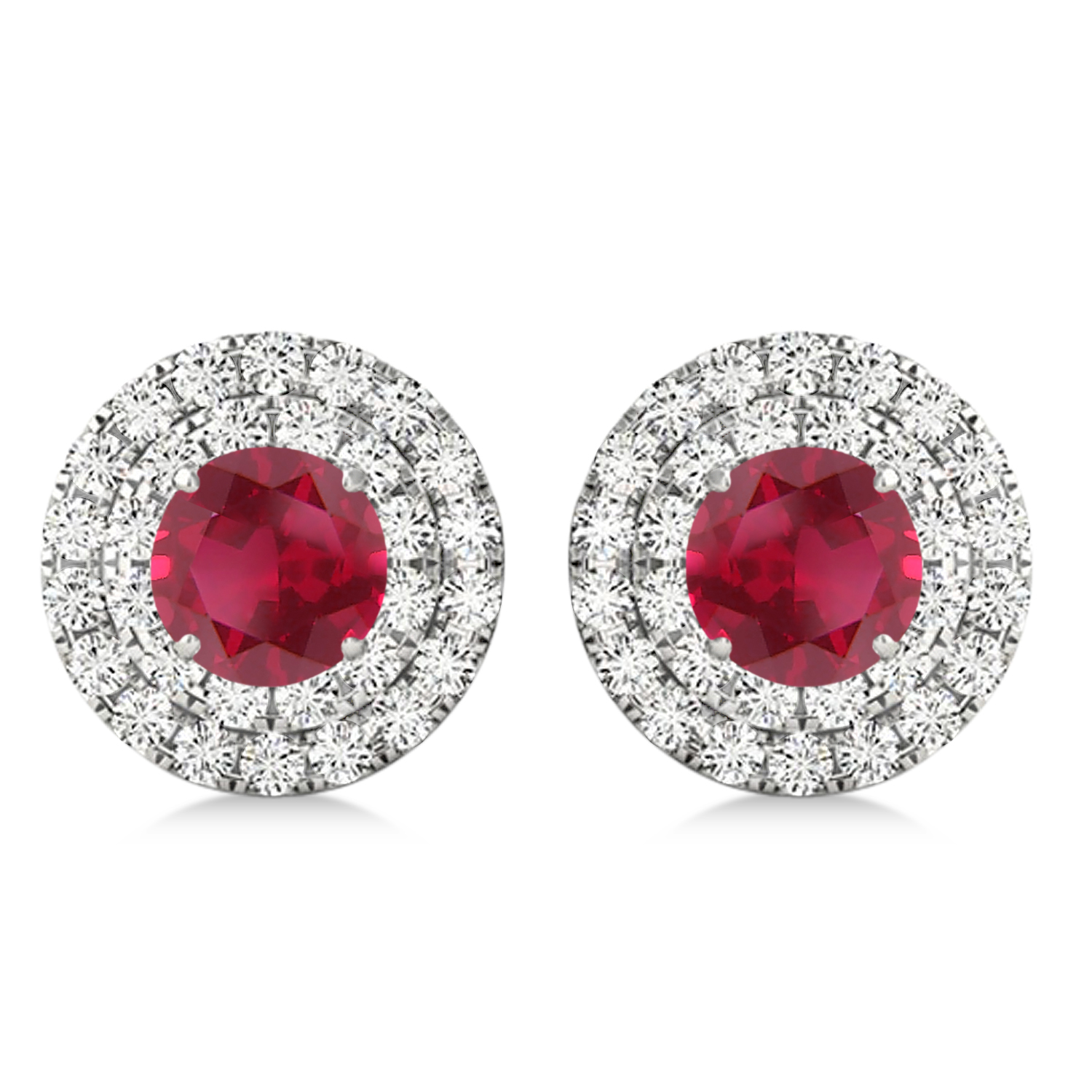 Round Double Halo Diamond & Ruby Earrings 14k White Gold 1.65ct