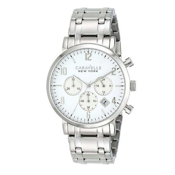 Caravelle Men's Black & White Collection Chronograph Stainless Steel Watch