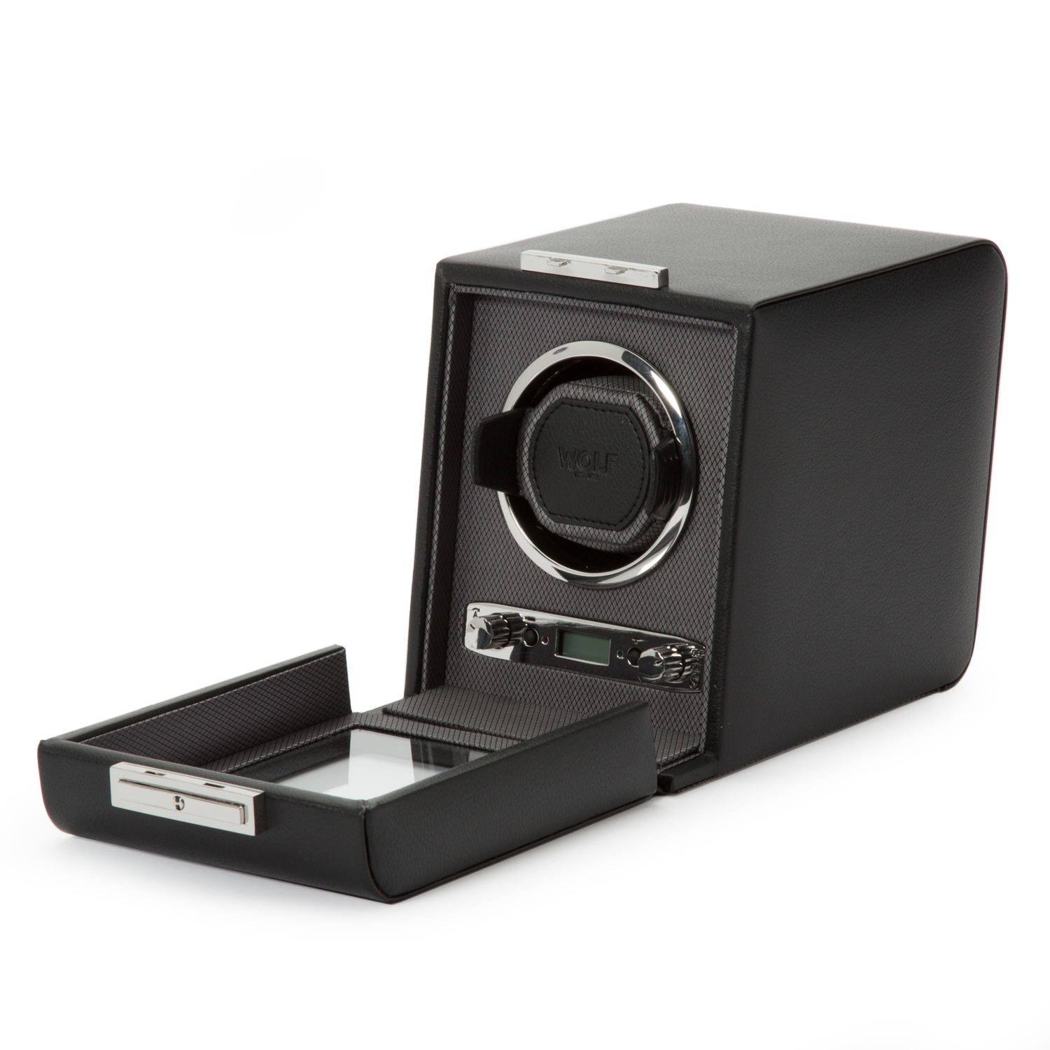 WOLF Viceroy Men's Single Automatic Watch Winder in Wood Faux Leather Construction