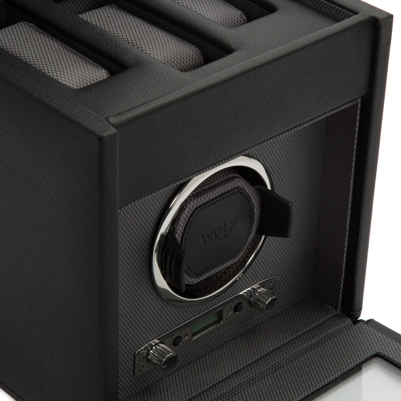 WOLF Viceroy Men's Single Watch Winder 3 Timepiece Storage Faux Leather Glass Door