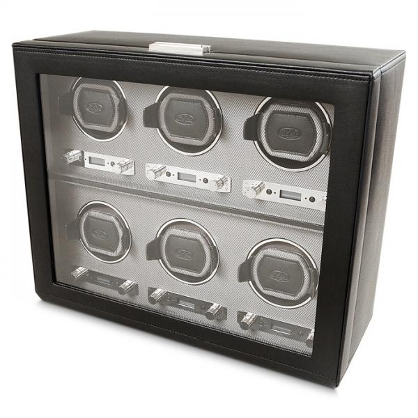 Men's Watch Winder for 6 Timepieces in Faux Leather w/ Glass Door Lock