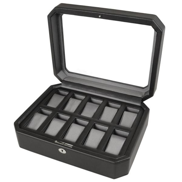 WOLF Windsor Ten Piece Watch Box in Black Faux Leather