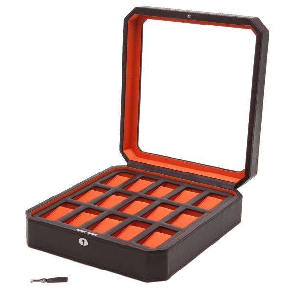 WOLF Windsor Fifteen Piece Watch Box in Brown/Orange Faux Leather