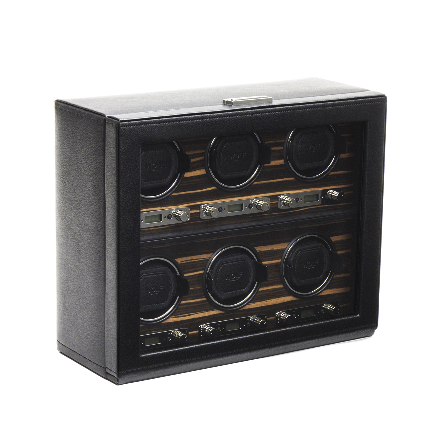 Wolf Roadster Men's 6 Watch Winder in Faux Leather w/ Wood Veneer, Glass & Key Lock