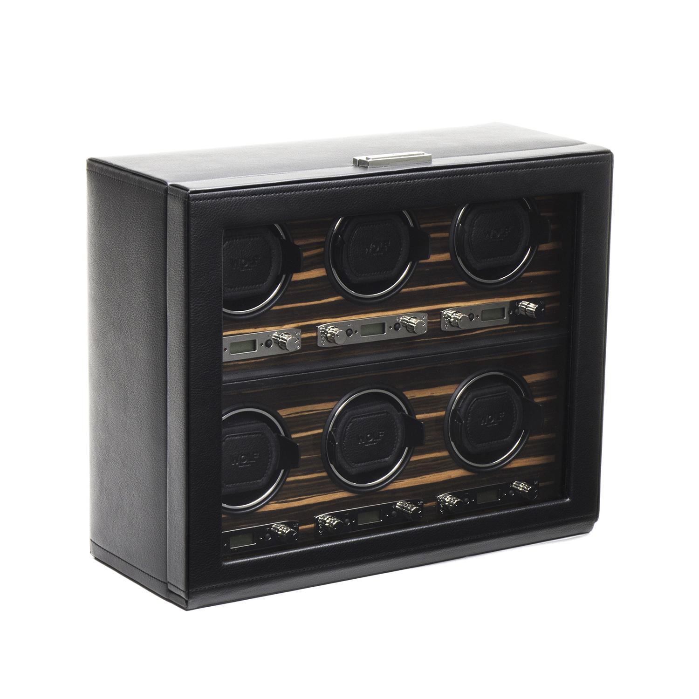 Men's 6 Watch Winder in Faux Leather w/ Wood Veneer, Glass & Key Lock