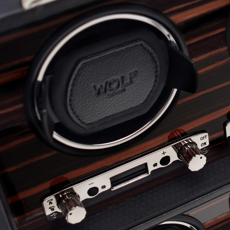 Wolf Roadster Men's 6 Watch Winder in Faux Leather w/ Wood Veneer, Glass & Key Lock