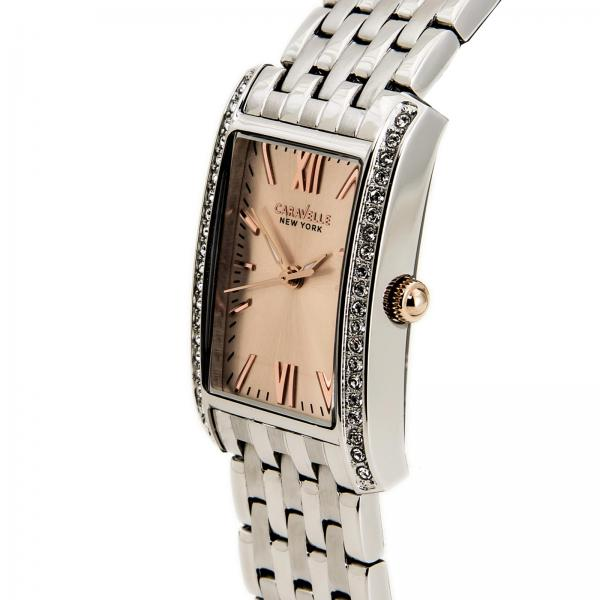 Caravelle Women's Blush Collection Rectangular Stainless Steel Watch
