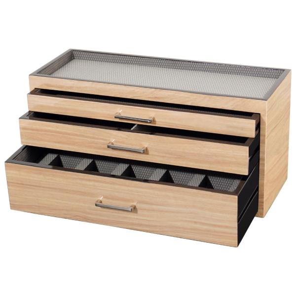 Wolf Meridian Wooden Modular 3 Drawer Dresser Valet Watch Storage Box In Colors