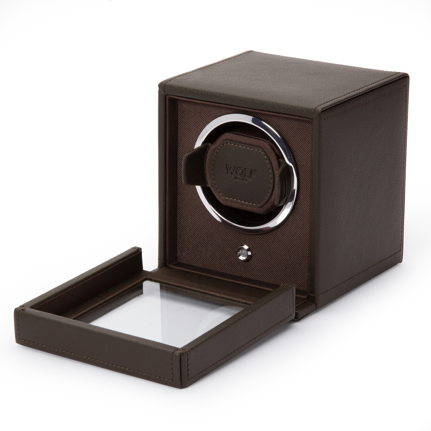 WOLF Cub Single Watch Winder w Cover in Brown