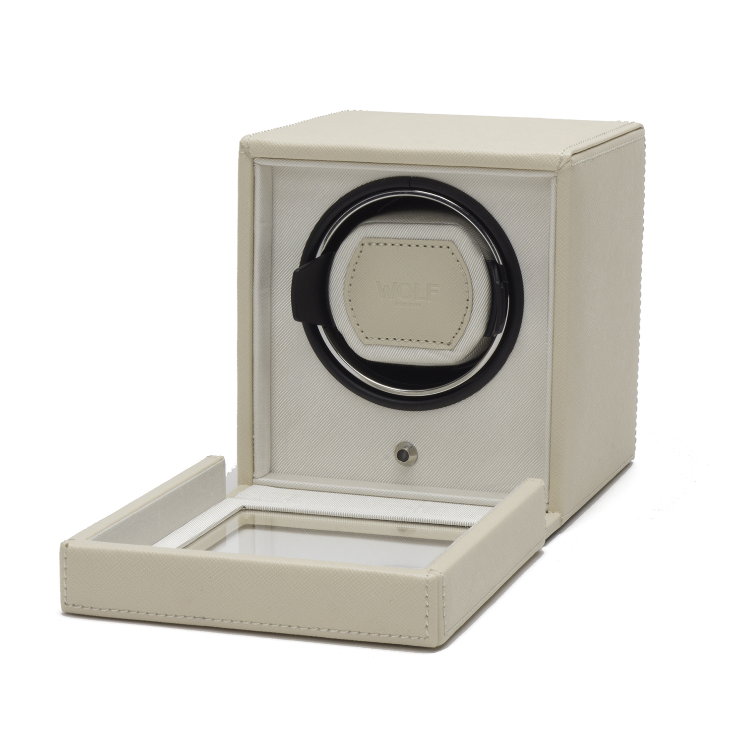 Wolf Cub Single Watch Winder w Cover in Cream