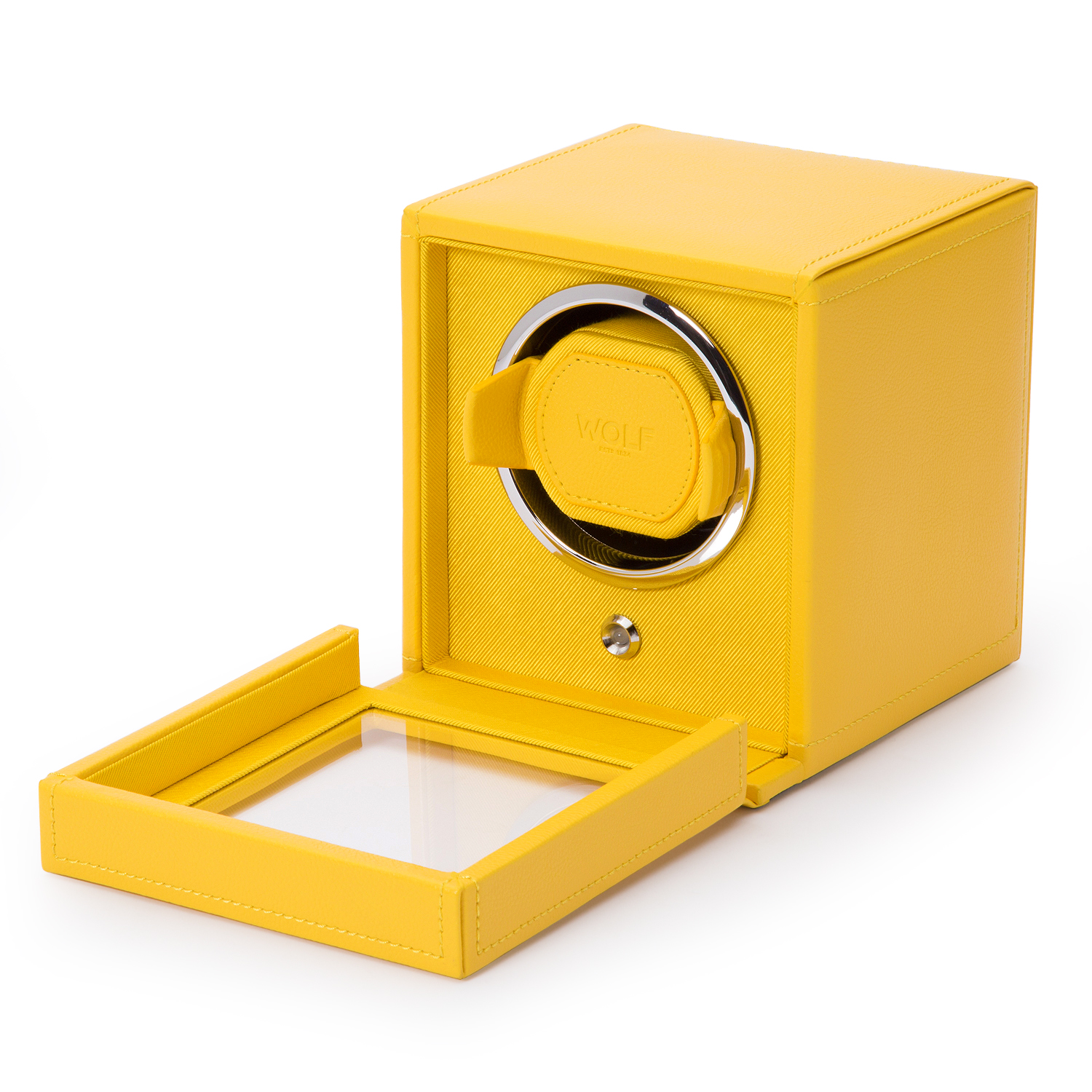 WOLF Cub Single Watch Winder w Cover in Yellow