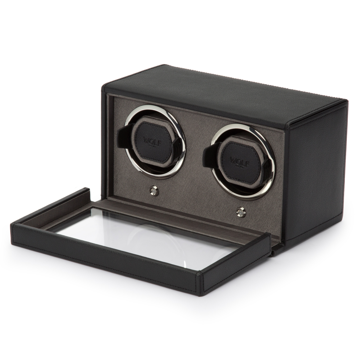 WOLF Double Cub Watch Winder w/ Cover in Black Faux Leather