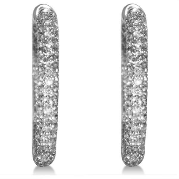 Diamond Accented Hoops Earrings in 14k White Gold (1.75ct)