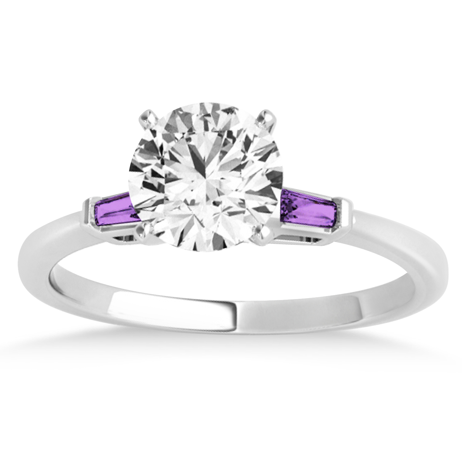 Tapered Baguette 3-Stone Amethyst Engagement Ring 18k White Gold (0.10ct)