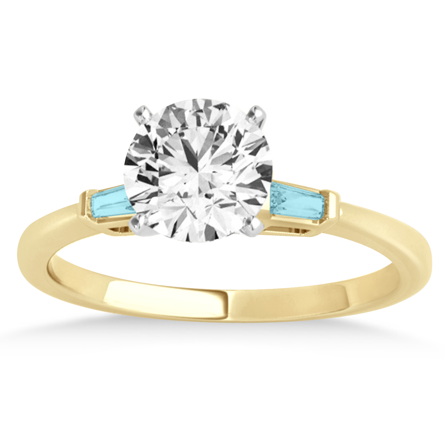 Tapered Baguette 3-Stone Aquamarine Engagement Ring 18k Yellow Gold (0.10ct)