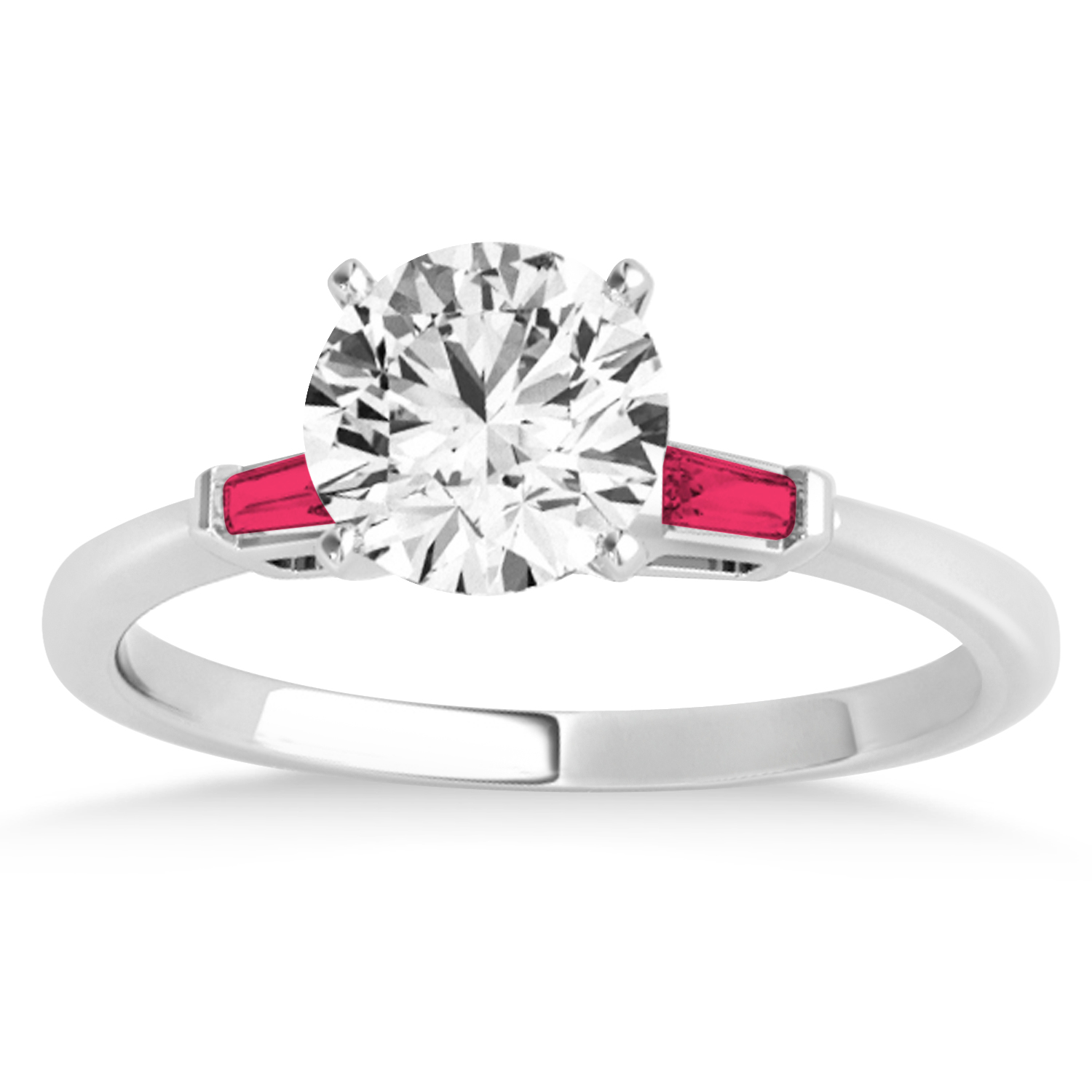 Tapered Baguette 3-Stone Ruby Engagement Ring 18k White Gold (0.10ct)