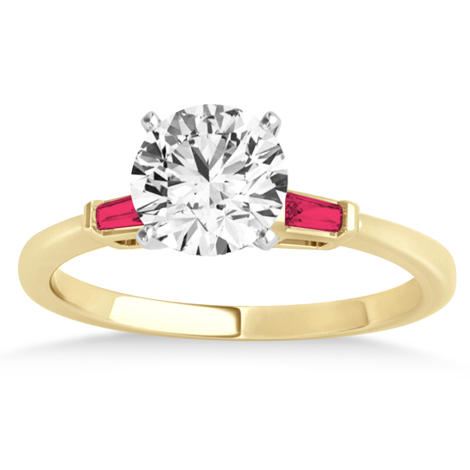 Tapered Baguette 3-Stone Ruby Engagement Ring 18k Yellow Gold (0.10ct)