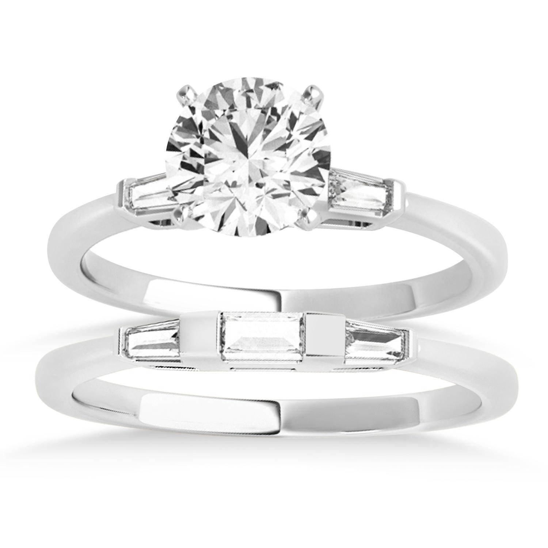 Tapered Baguette 3-Stone Diamond Bridal Set 14k White Gold (0.30ct)