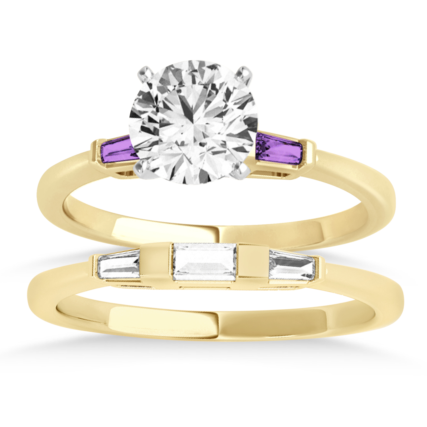 Tapered Baguette 3-Stone Amethyst Bridal Set 18k Yellow Gold (0.30ct)