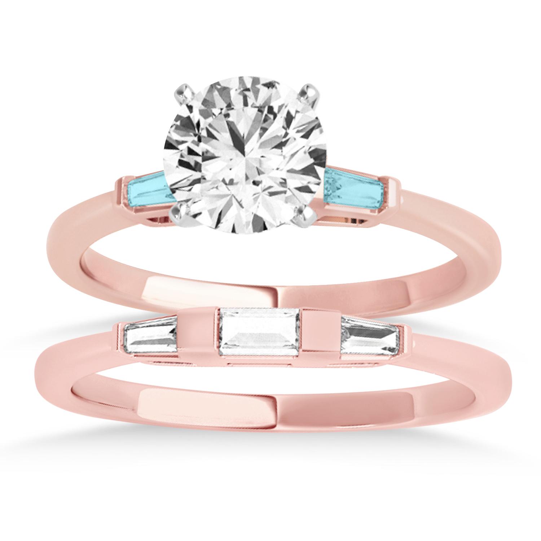 Tapered Baguette 3-Stone Aquamarine Bridal Set 14k Rose Gold (0.30ct)
