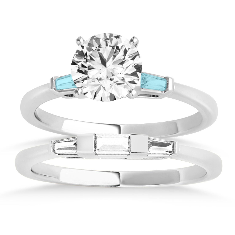 Tapered Baguette 3-Stone Aquamarine Bridal Set 14k White Gold (0.30ct)