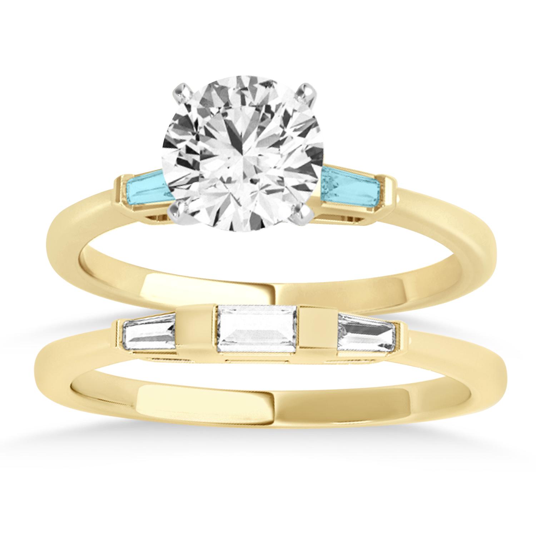 Tapered Baguette 3-Stone Aquamarine Bridal Set 14k Yellow Gold (0.30ct)