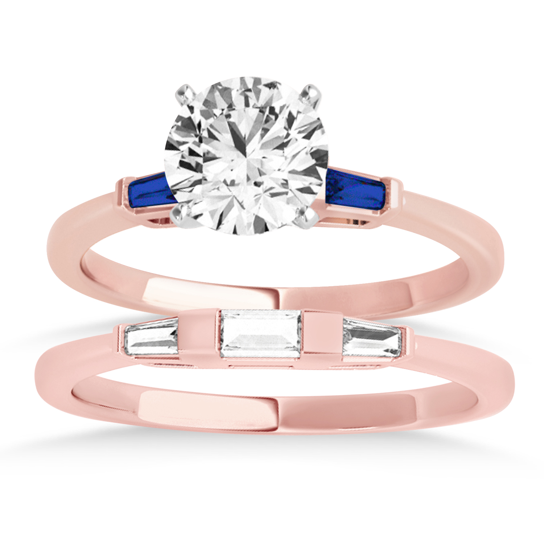 Tapered Baguette 3-Stone Blue Sapphire Bridal Set 14k Rose Gold (0.30ct)