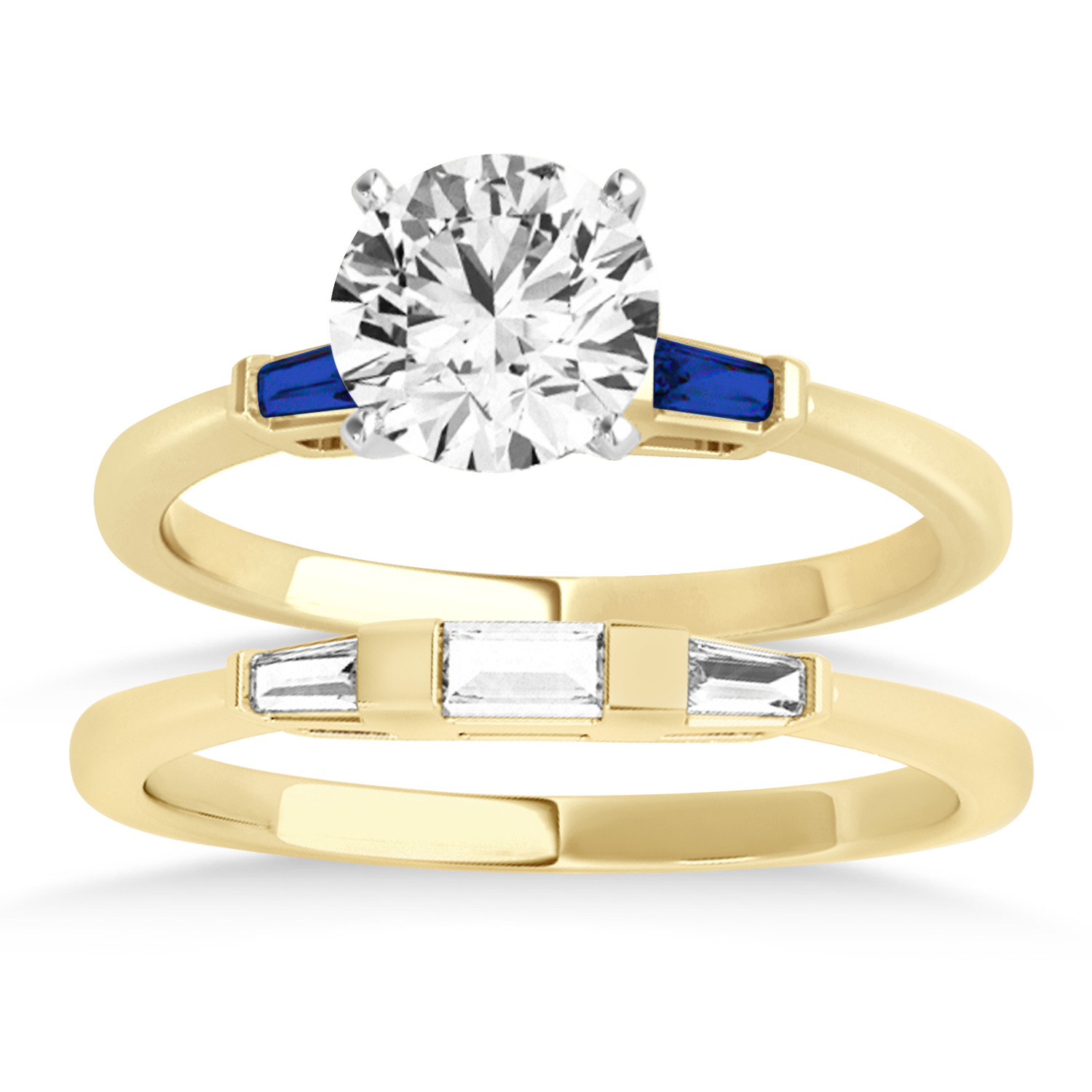 Tapered Baguette 3-Stone Blue Sapphire Bridal Set 14k Yellow Gold (0.30ct)