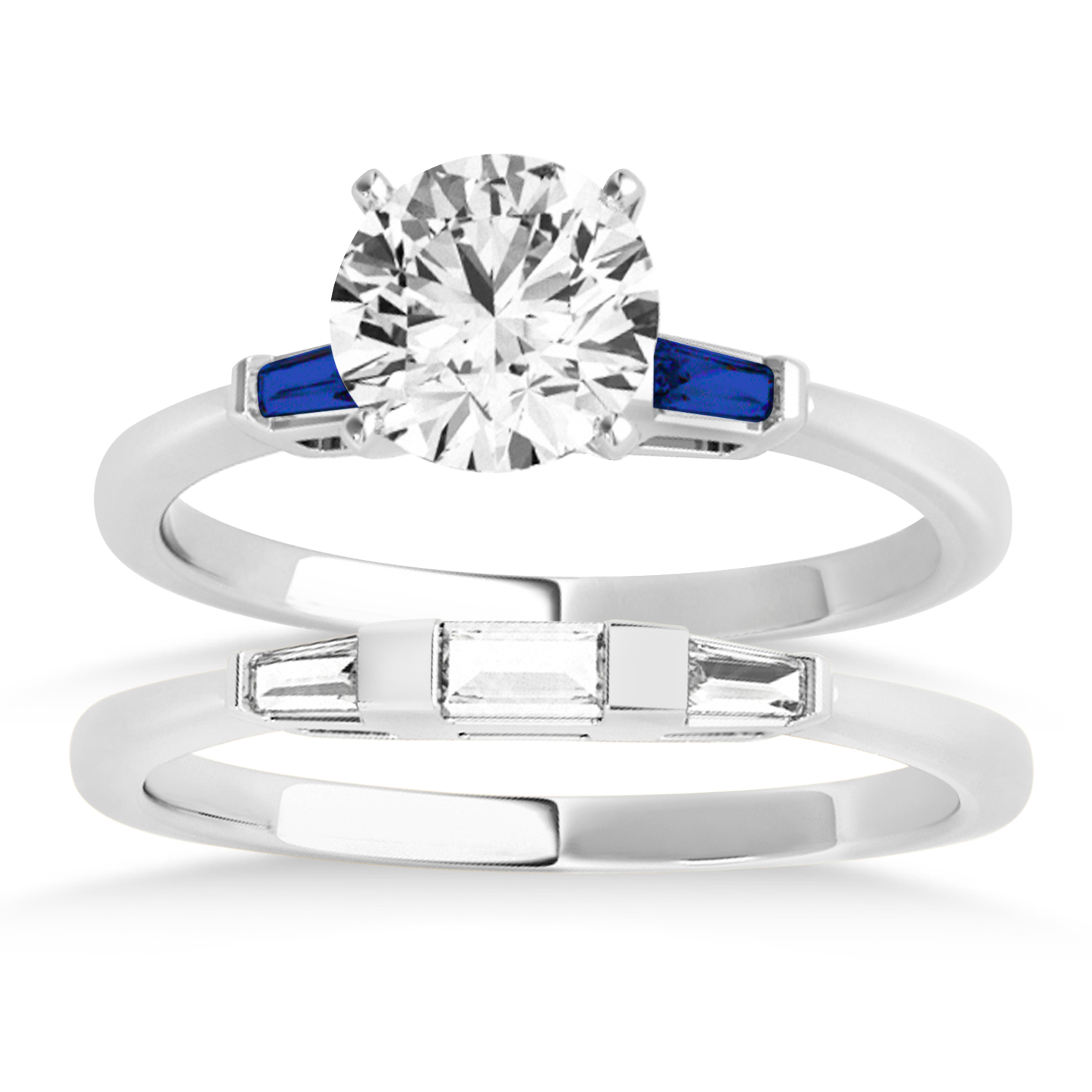 Tapered Baguette 3-Stone Blue Sapphire Bridal Set 18k White Gold (0.30ct)