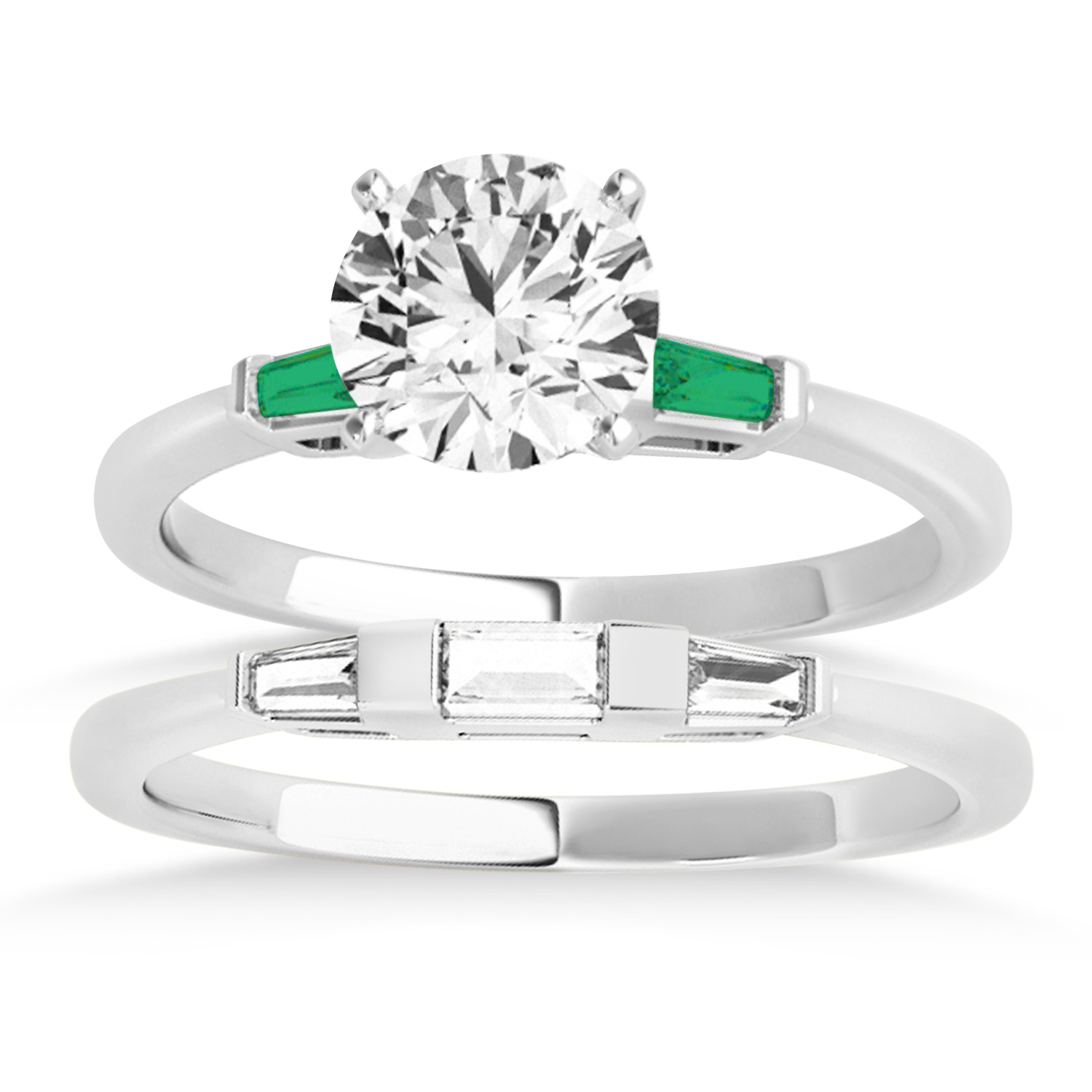 Tapered Baguette 3-Stone Emerald Bridal Set 14k White Gold (0.30ct)