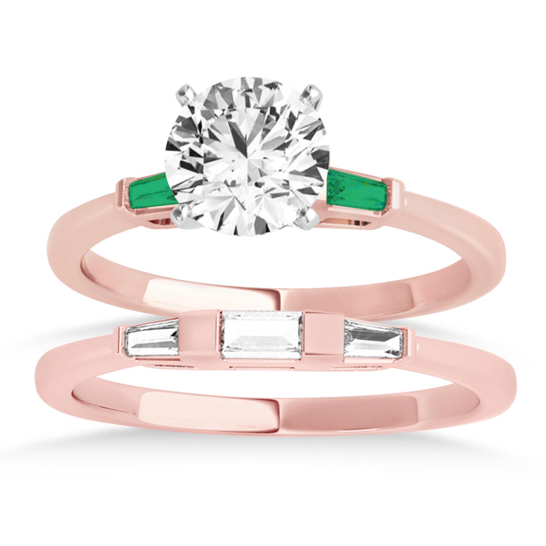 Tapered Baguette 3-Stone Emerald Bridal Set 18k Rose Gold (0.30ct)