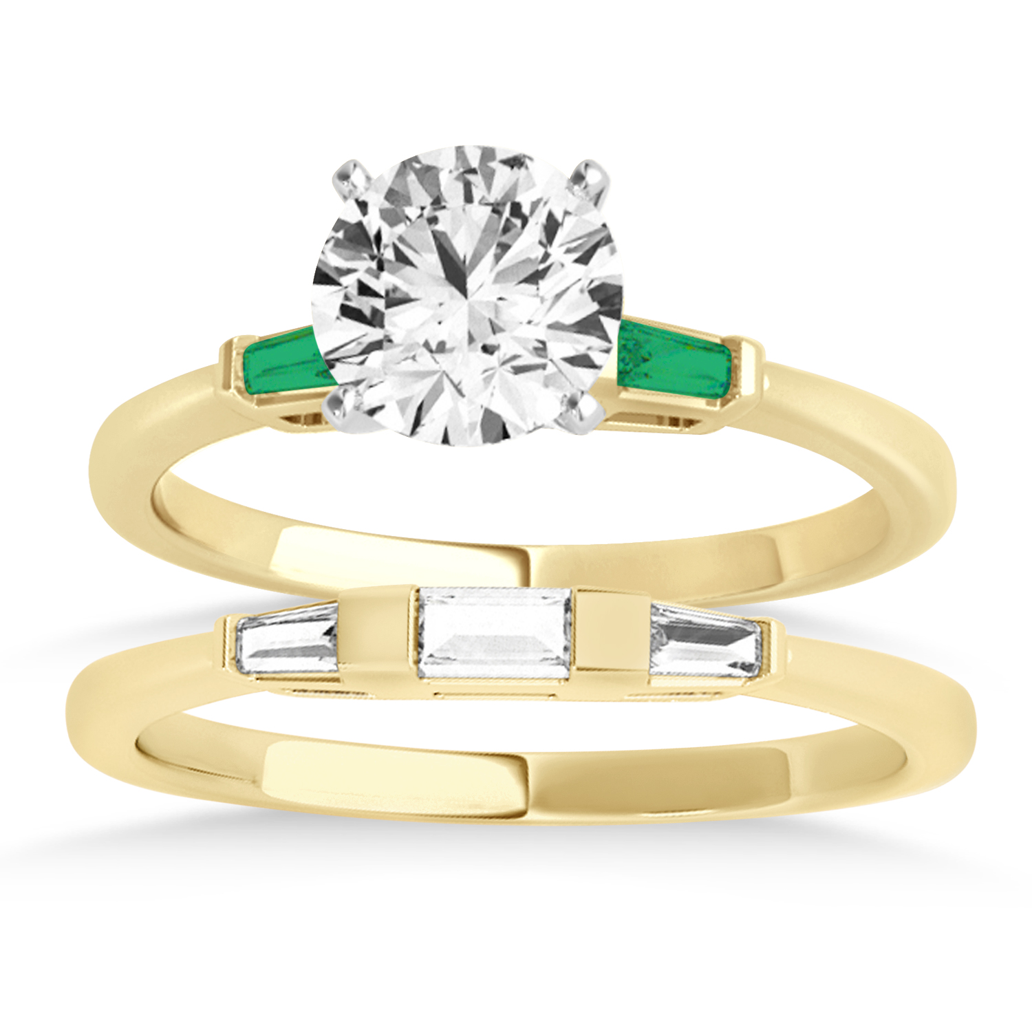 Tapered Baguette 3-Stone Emerald Bridal Set 18k Yellow Gold (0.30ct)