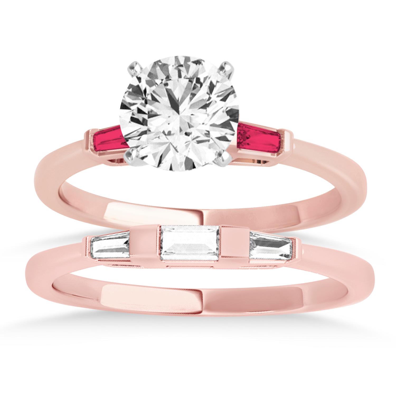 Tapered Baguette 3-Stone Ruby Bridal Set 14k Rose Gold (0.30ct)