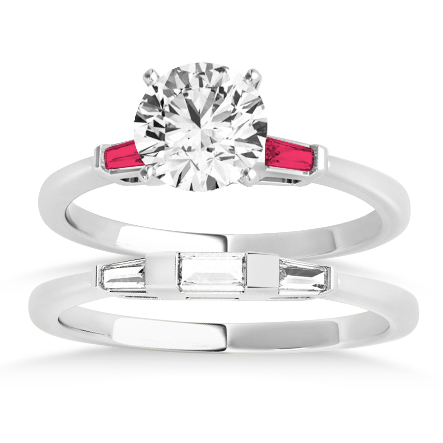 Tapered Baguette 3-Stone Ruby Bridal Set 14k White Gold (0.30ct)