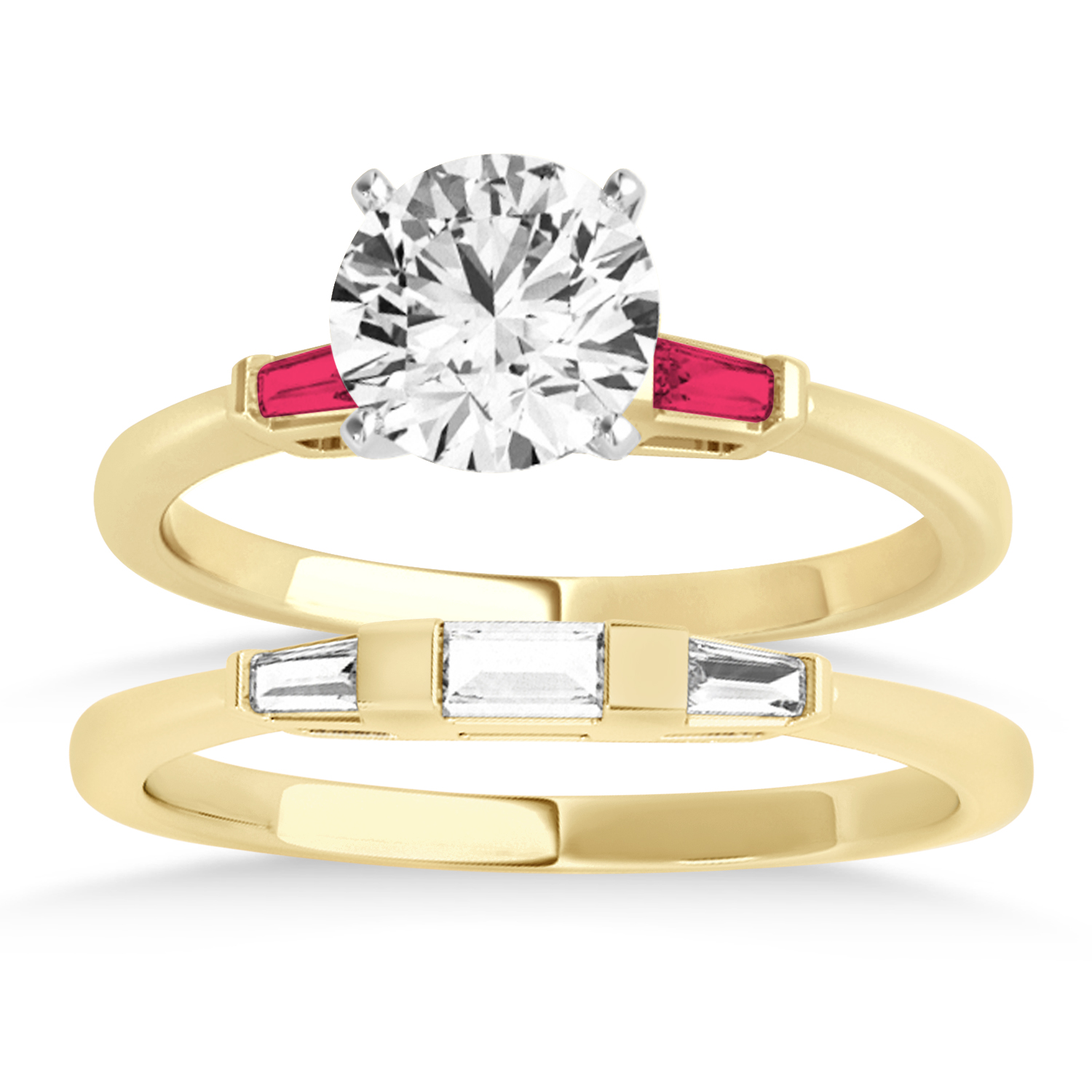 Tapered Baguette 3-Stone Ruby Bridal Set 14k Yellow Gold (0.30ct)