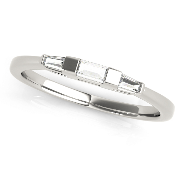 Tapered Baguette 3-Stone Diamond Wedding Band 14k White Gold (0.20ct)