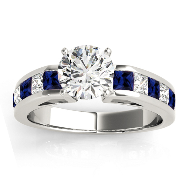 Diamond Blue Sapphire Accents Engagement Ring 14k White Gold 1ct Ng6469